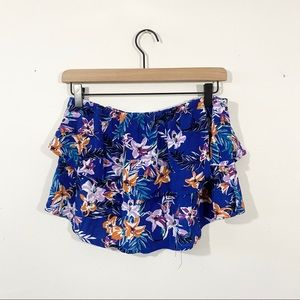 Garage Floral Ruffle Tube Top Size M